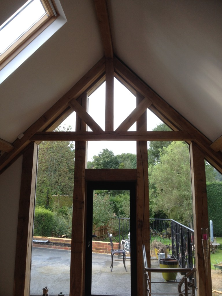 Green Oak Framed House Surrey With Trusses Bespoak Framing